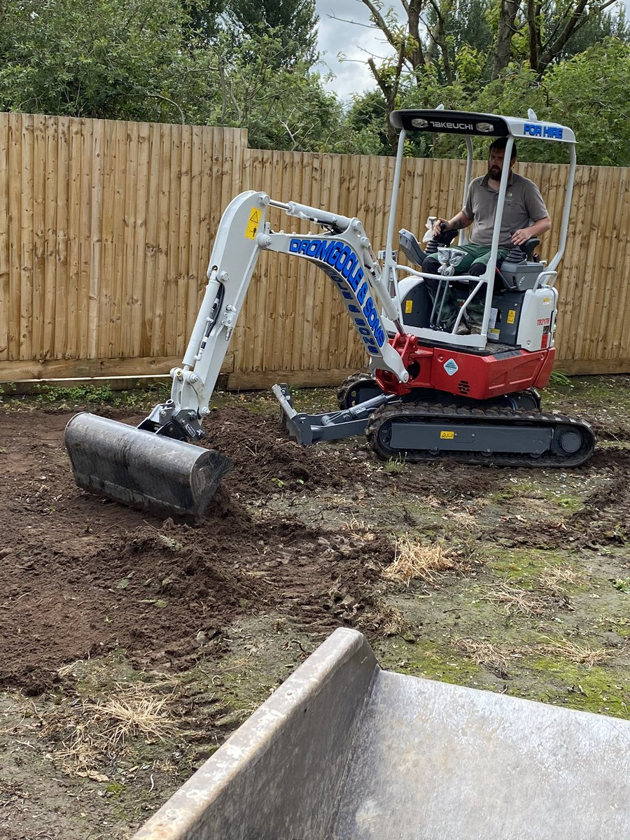 Dromgoole & Sons your new plant is making light work of preparing the ground on our latest job. And yes we are be very careful with it! @dromgooleandsons #chestertweets #chesterhour #chester #cheshire #gardening #hedges #grasscut #northwalestweets @ChesterReTweet
