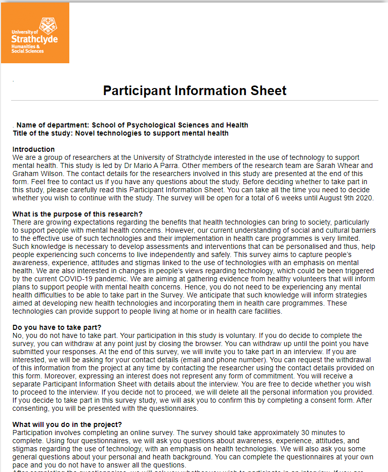 New @CarnegieUni funded study - led by @UOSPsychology  student Sarah Whear, supervised by @marioparrarodri  - looking at the use of technology to support mental health - if you would like to take part here is the link https://t.co/vUSbgA4XGz https://t.co/STXUhRKXnK
