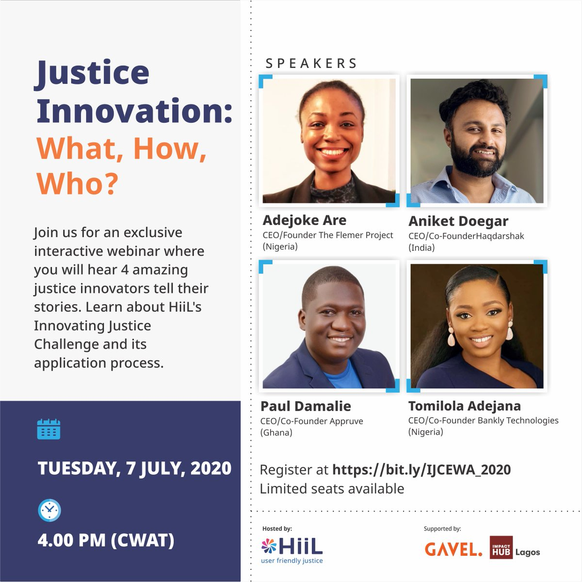 Justice Innovation: What, How, Who  Join us for this exclusive webinar to hear the stories of 4 amazing justice innovators and their entrepreneurial journey to solving justice problems.  Register here: https://t.co/8oTBDtKKct  #justinnovate20 #InnovatingJusticeChallenge2020 https://t.co/UqdSInHZT1