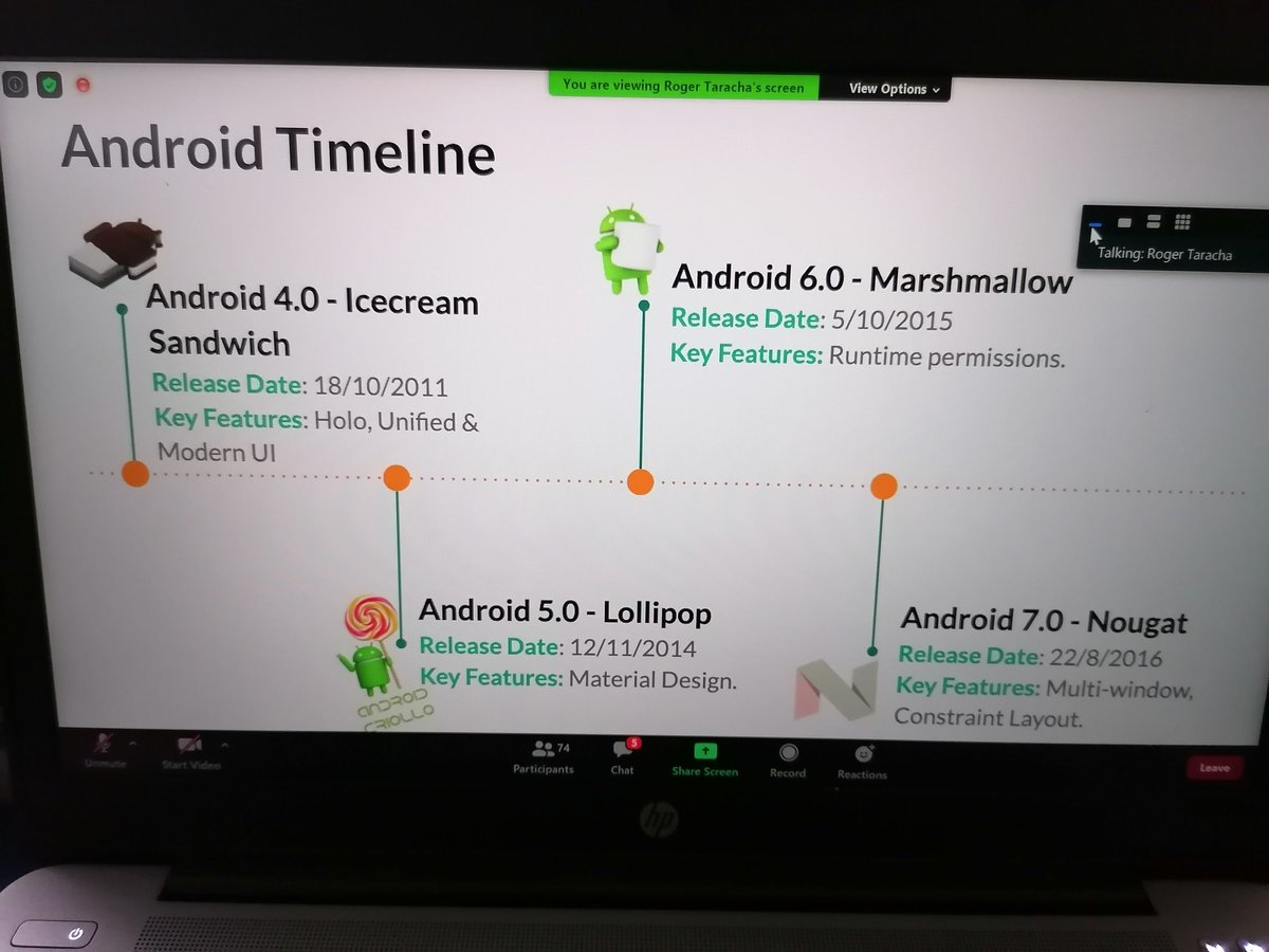 @TheDancerCodes going through the Android Timeline! Come and learn more from world class tech enthusiasts!  @eMobilis #emobilisprograminer #programming #softwaredevelopment https://t.co/N8qN06xho8