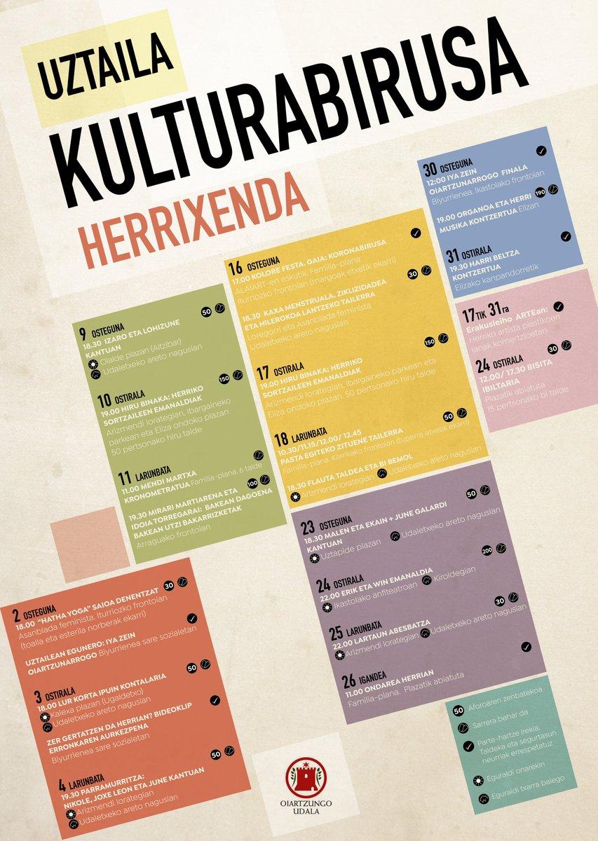 Kultura da dauzkagun eta etor litezkeen balizko gaitzentzako antigorputzik onena. Uztailean eta abuztuan #Oiartzun-en #Kulturabirusa. #Herrixenda-n egingo dugu topo. https://t.co/WgbQKNHR8R