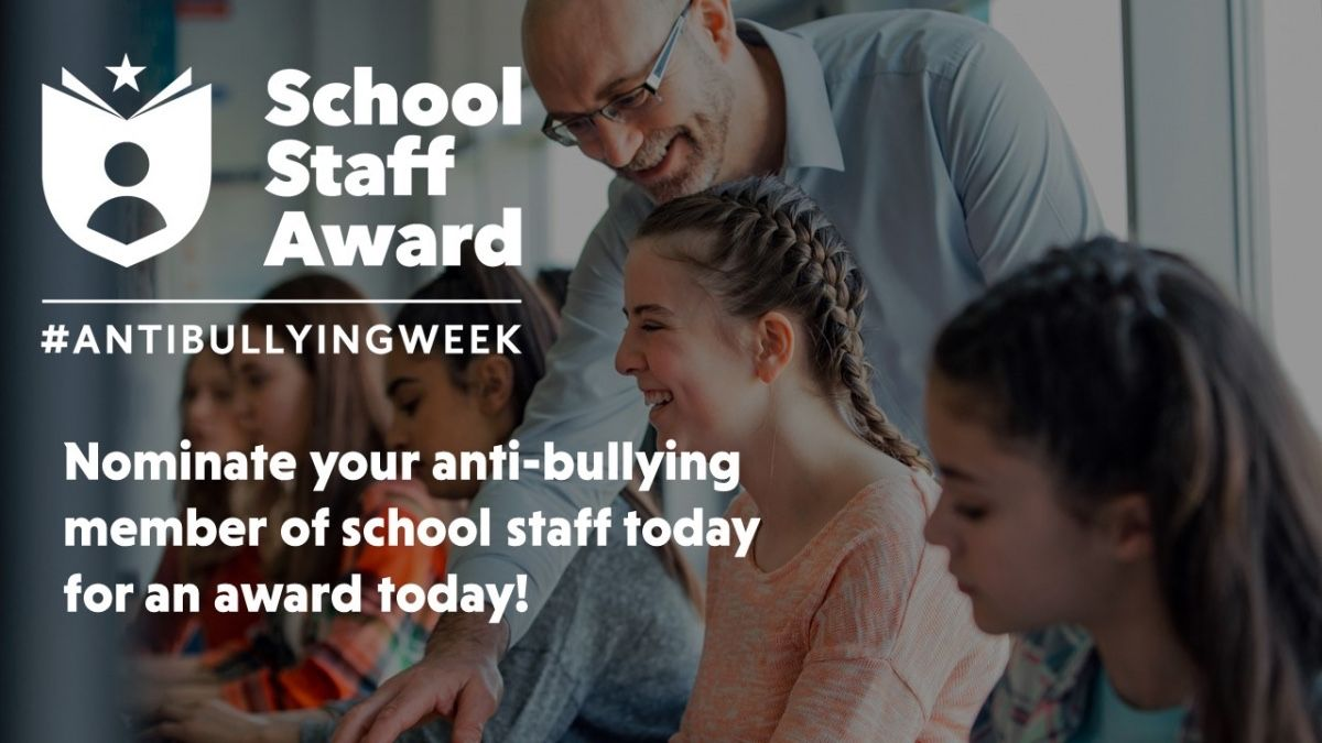 We want to celebrate all the amazing teachers and school staff that go above and beyond the call of duty to prevent and respond to bullying. Nominate your teacher now and the winners will be announced during #AntiBullyingWeek in November:  http:// bit.ly/abwschoolstaff award   … <br>http://pic.twitter.com/Mt9SOgjiWa