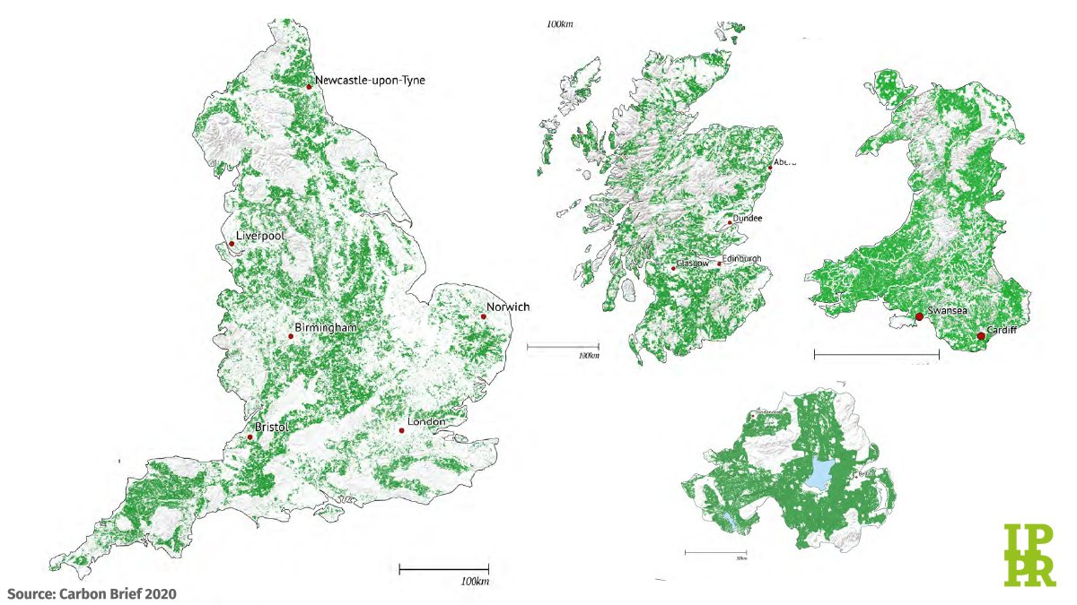 Just look at all the possible areas for woodland creation across the country! 🌳🌲🌿 Our analysis shows 46,000 jobs could be created in extending woodland and restoring peatland - vital for tackling the #ClimateCrisis and kick-starting the economy bit.ly/IPPRgreen