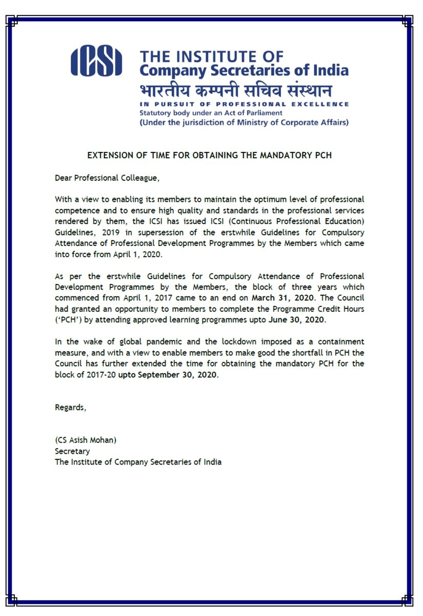 important for #ICSI Members Extension of time for obtaining mandatory #PCH till September 30, 2020. pic.twitter.com/PL4xePAgsO