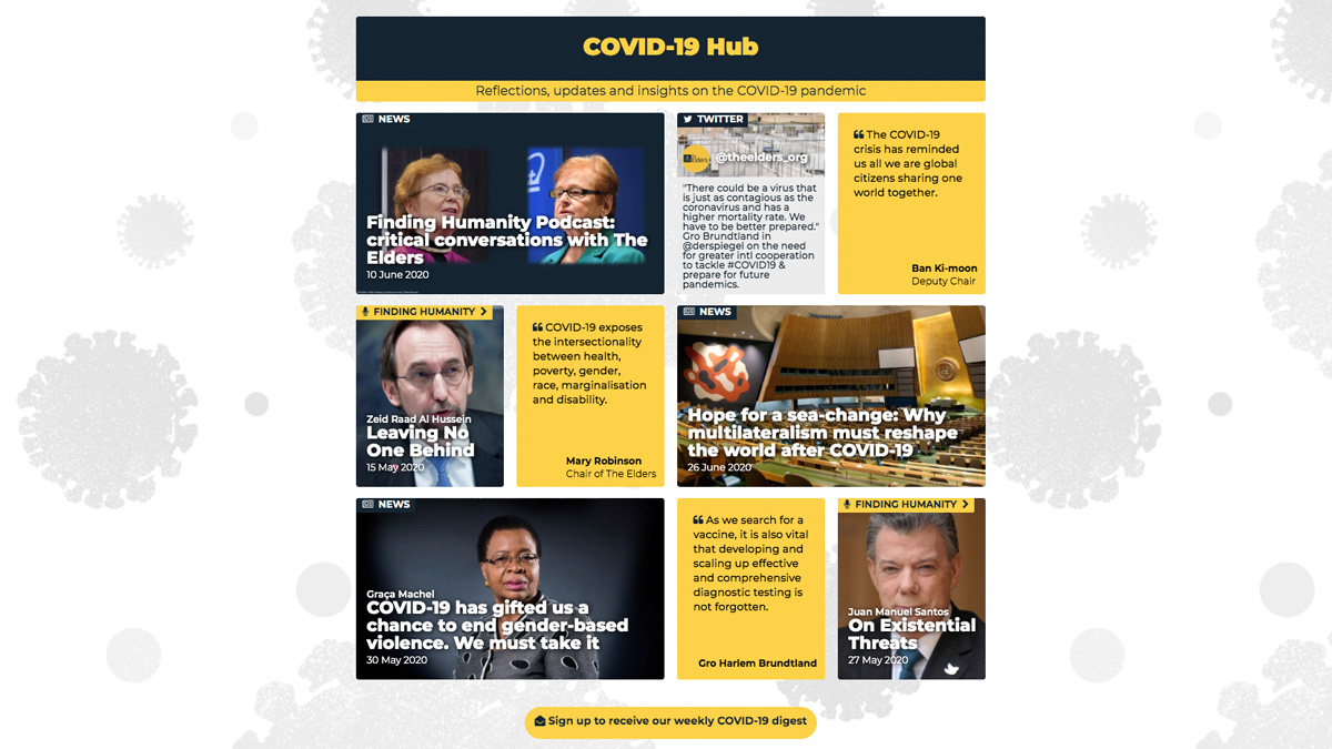 What should decision-makers prioritise to ensure a just and equitable #COVID19 recovery? Visit the COVID-19 Hub for analysis, insights, and reflections from The Elders – independent global leaders founded by @NelsonMandela: theelders.org/#covid19