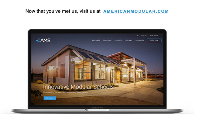 Last week, we introduced our new AMS branding. Everything's brand new! Explore our website. Discover our brands! Visit us at https://t.co/9aVs4cQnzC #AMS #GEN7 #prefab #modular #greenschools #California #education https://t.co/OoMDUaOct8