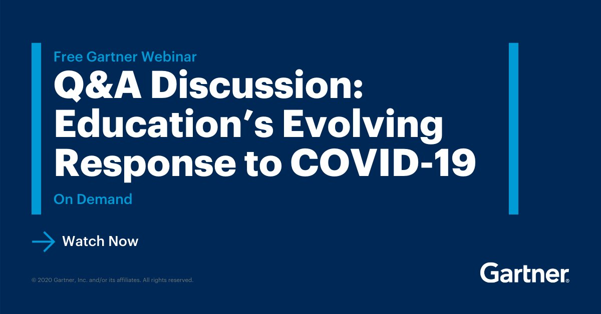 """During our free webinar, """"Q&A Discussion: #Education's Evolving Response to COVID-19,"""" Gartner experts answer your most-pressing questions on how CIOs can navigate the future.   Watch today: https://t.co/1yFfoGwECE #GartnerSYM #CIO https://t.co/sTv8TDegdl"""