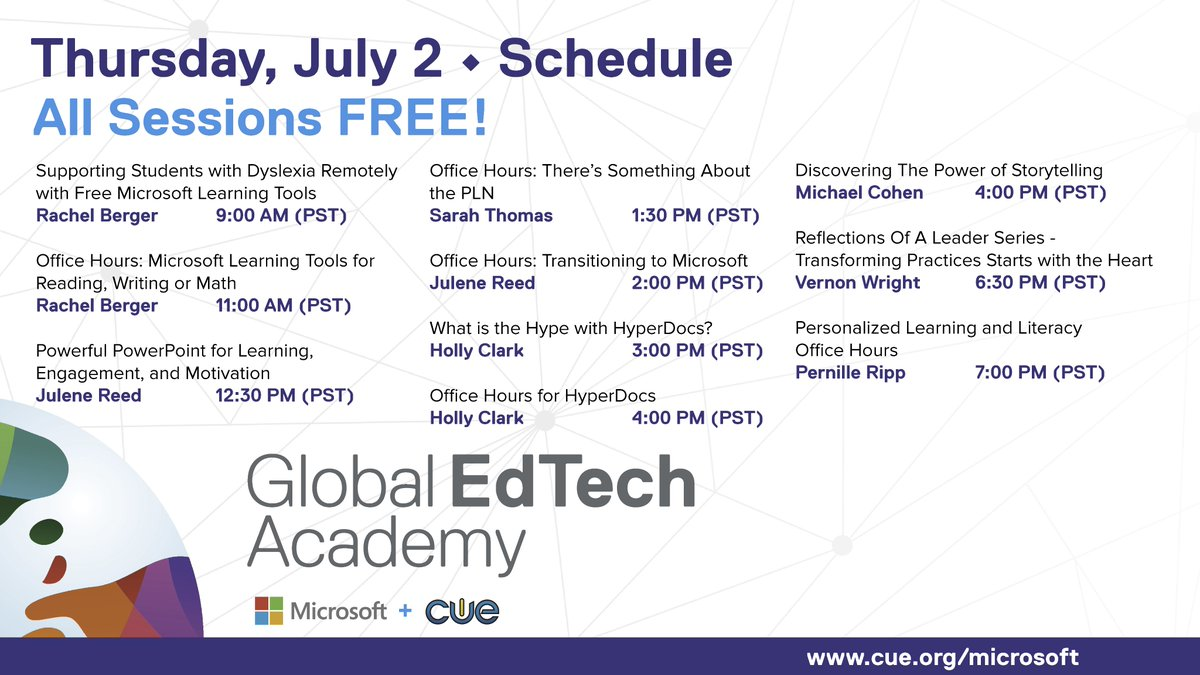 It's another GREAT day of learning! Join us at cue.org/microsoft. #GETA #microsoftedu #WeAreCUE