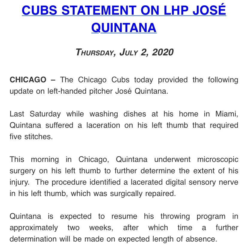 @Cubs have just released a statement on José Quintana. A surgery to his thumb puts his 2020 seaon at risk. Huge set back for the @Cubs and Their starting Rotation. #mlb #colombia #cubs #MLB2020 https://t.co/7F8k60Qx5A