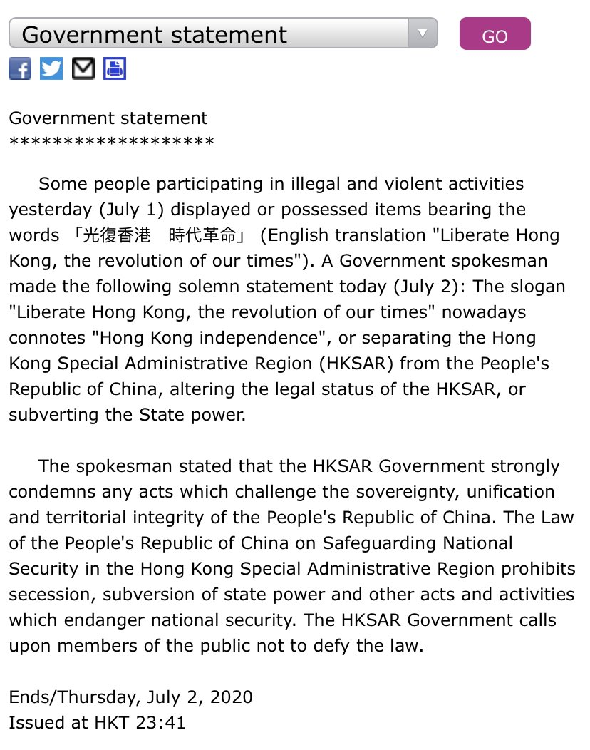 """HK Government announces the popular slogan """"Liberate Hong Kong, The Revolution of Our Times"""" may be outlawed under #NationalSecurityLaw.  #StandWithHongKong https://t.co/i1s6F6Uv9n"""