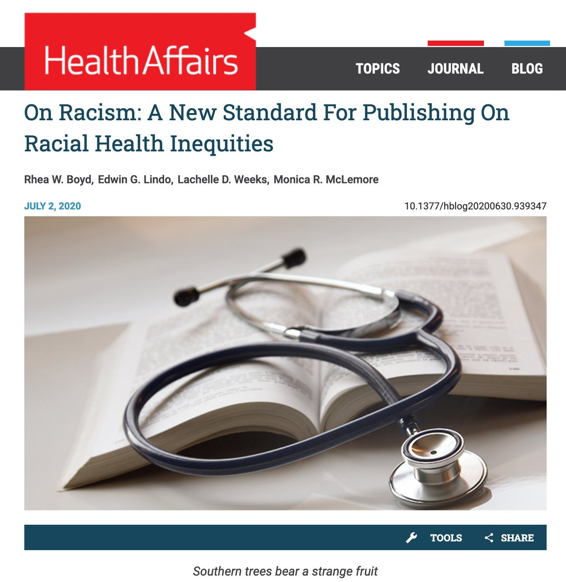The bar to publish on racial health inequities is too low.  So @mclemoremr @EdwinLindo @Lachelle_Dawn and I set a new bar in @Health_Affairs.  Rule 1. NEVER reify biological race (it is not a thing)  Rule 2. Examine racism as a cause of health inequities  https://t.co/LKknR6ZnDN https://t.co/jRv7OQbji6