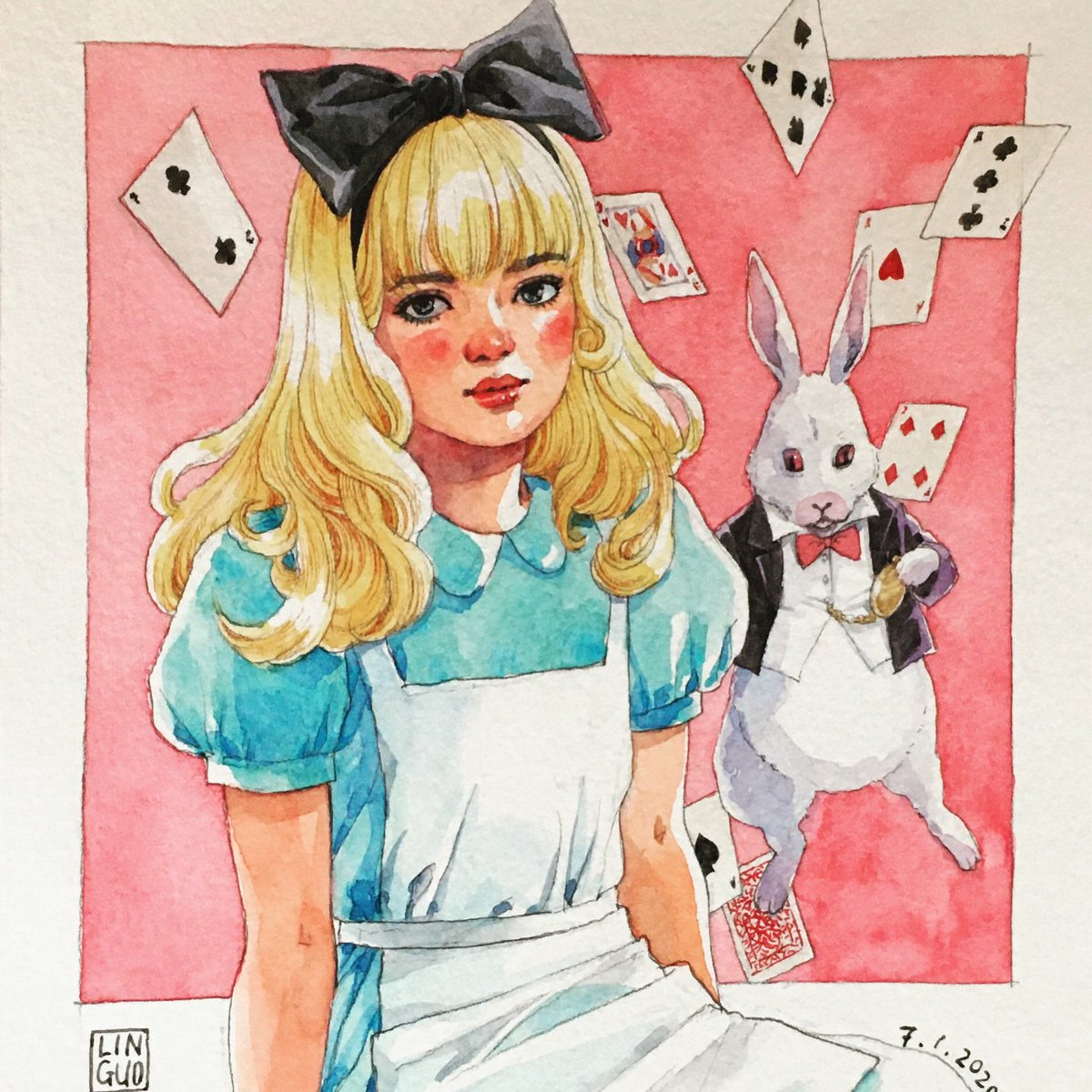 ♠️🐰👑   #art #artist #artistsontwitter #illustration #watercolor #girl #potrait #drawing #sketch #dailysketch  #sketchbook #doodle #dailydrawing #fanart #aliceinwonderland #alice #抖抖村 #抖抖村打卡 #doudoutown https://t.co/ieiDzY6TDq