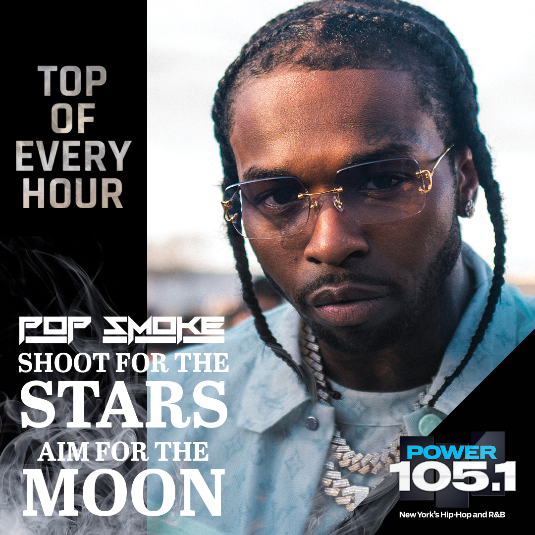"""Right now we're playing @POPSMOKE10's ENTIRE Album live! 💫💿  And then all day long we're playing joints from """"Shoot for the Stars, Aim for the Moon"""" at the top of every hour and celebrating Pop's legacy! 🙏🏿🌑🗽 #PopSmokeOnPower1051  Listen: https://t.co/dxFfW22jtZ https://t.co/UrMnOKaxWS"""