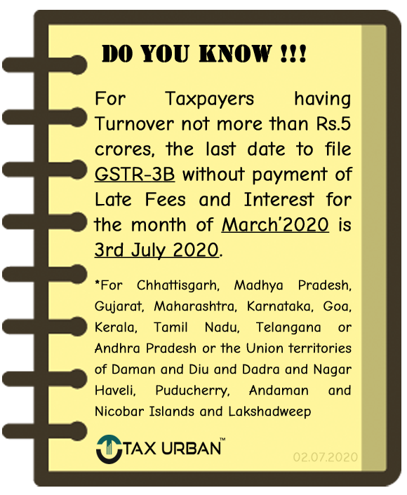 GSTR-3B March 2020 for taxpayers having Turnover<Rs 5 Crores. For the following #Chhattisgarh #MadhyaPradesh #Gujarat #Maharashtra #Karnataka #Goa #Kerala #TamilNadu #Telangana #AndhraPradesh #DamanandDiuandDadraandNagarHaveli #Puducherry #AndamanandNicobarIslands #Lakshadweeppic.twitter.com/r8SkqcCdj7