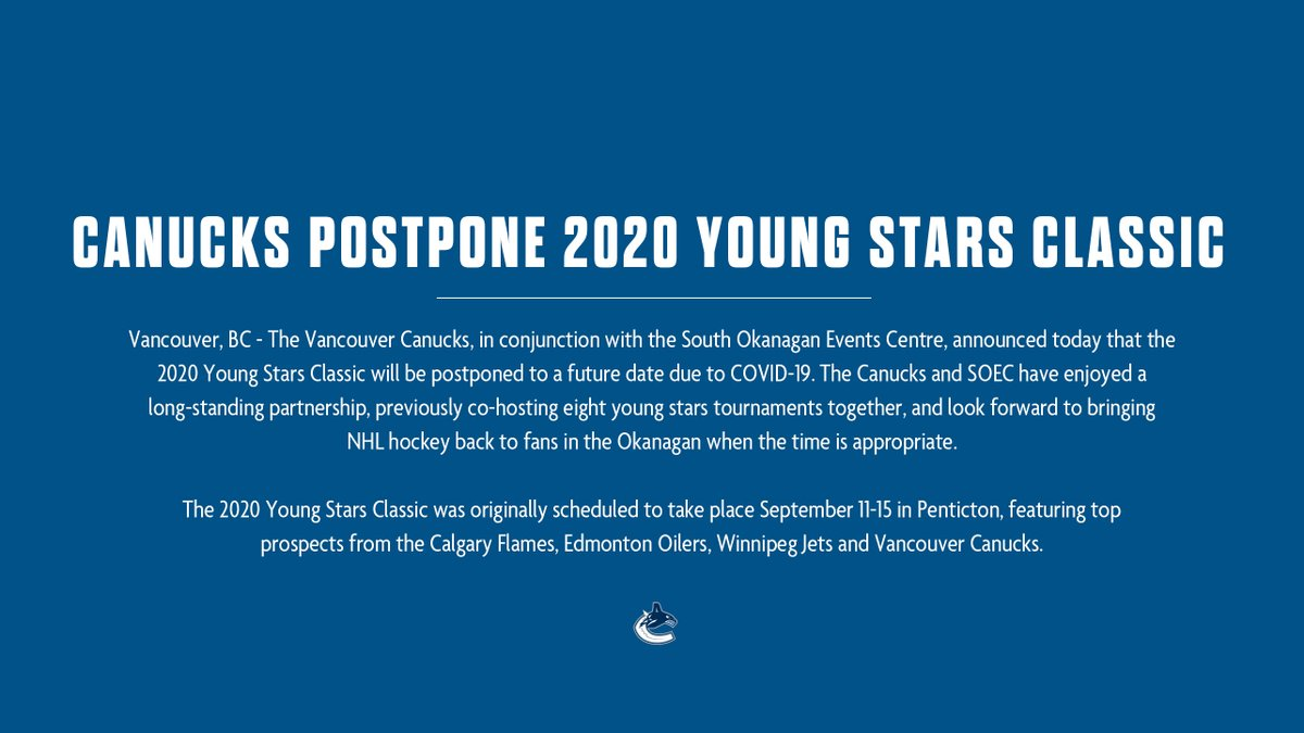 Update regarding the 2020 #YoungStars Classic: twitter.com/Canucks/status…