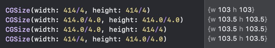 Does anyone has an explanation of this? I far as I understood, int initializer is used in case 1, because type(of: 414/4) gives you Int. Same for case 2, but Double.  But what about 3 and 4? #swift #swiftlang <br>http://pic.twitter.com/cU0iJey44G