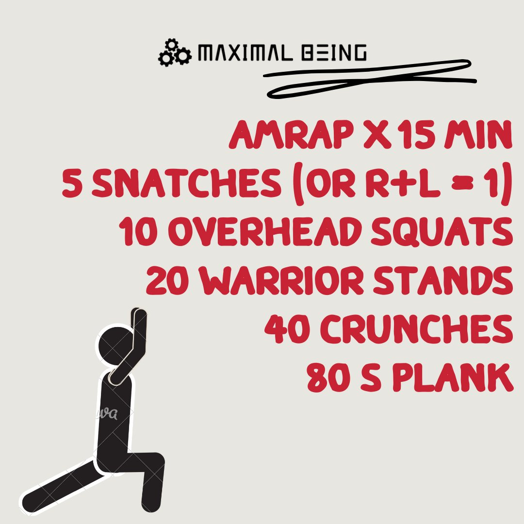 AMRAP x 15 min  snatches   overhead squats  20 Warrior stands 40 crunches 80 s plank POST ROUNDS #workout #workoutmotivation #workouts #workouttime #workoutvideo #WorkoutWednesday #workoutoftheday #workoutfit #workoutathome #workoutflow #workoutroutine #workoutdonepic.twitter.com/hoA8CpbN3j