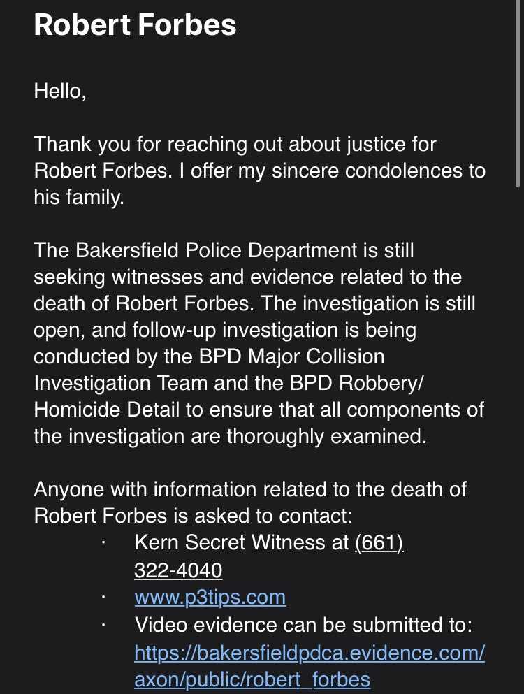 hi everyone, this is what the mayor of bakersfield karen goh emailed back as a response to my inquiry about the robert forbes investigation. please spead to get more witnesses to come forward!! #justiceforrobertforbes #RobertForbes #bakersfieldprotest pic.twitter.com/xKDd4ZRGmW