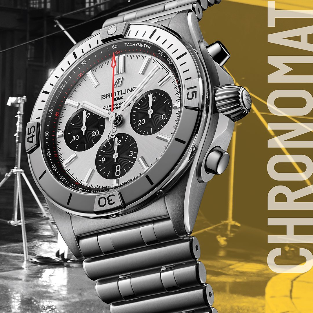 The return of the Chronomat with its signature rotating bezel and invertible rider tabs. Powered by the in-house @Breitling Manufacture Caliber 01. #breitling #squadonamission #chronomat #icon  https://t.co/rk8NATDhRs https://t.co/Zs2oBbtTvf