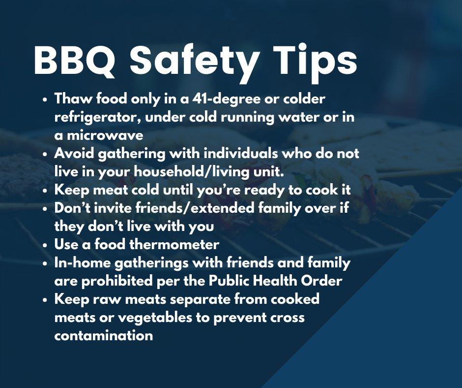 Firing up the grill this weekend? Here are some safety tips:  •Thaw food in a 41-degree or colder fridge, under cold running water or in a microwave •Avoid gathering with individuals who do not live in your household/living unit •Keep meat cold until you're ready to cook [1/2] https://t.co/aIv430eJ63