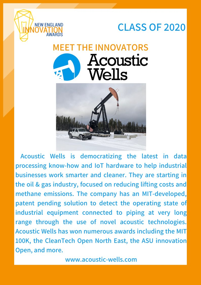 Meet the #Classof2020 #Innovators: @acousticwells is an asset-light control solution that uses acoustic physics and miniaturized edge computers to reduce lifting costs, detect leaks and equipment failures, and provide turn-key automation solution for oil and gas wells of any size https://t.co/amWGRJAct3