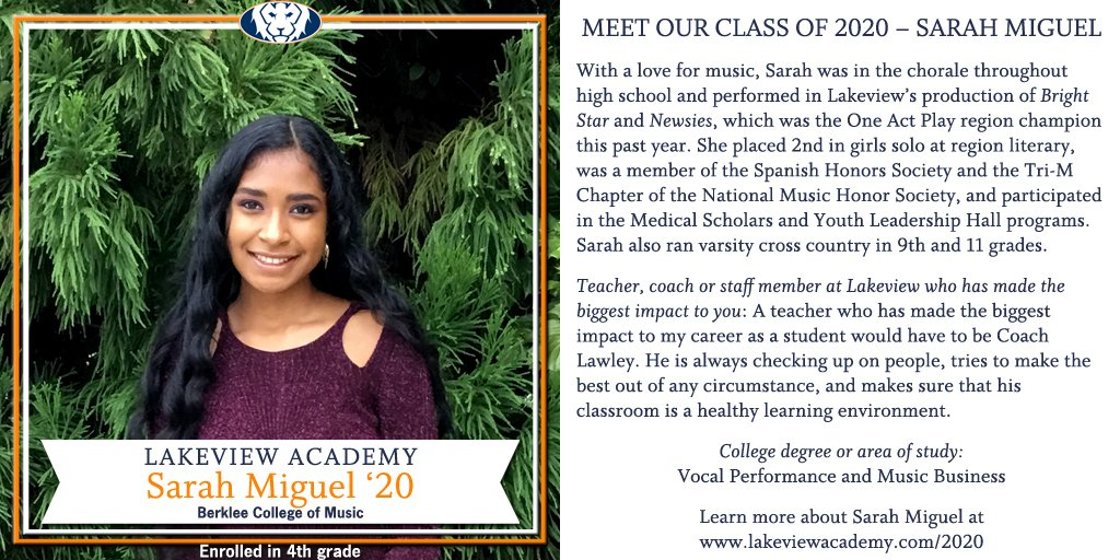 MEET OUR CLASS OF 2020 – SARAH MIGUEL Lakeview Academy is proud of our Class of 2020 and is spotlighting each senior this summer. Learn more about them and leave words of encouragement at https://t.co/jIPb6u6ylY. #welcometolakeview #classof2020 https://t.co/xsFLkmne3N
