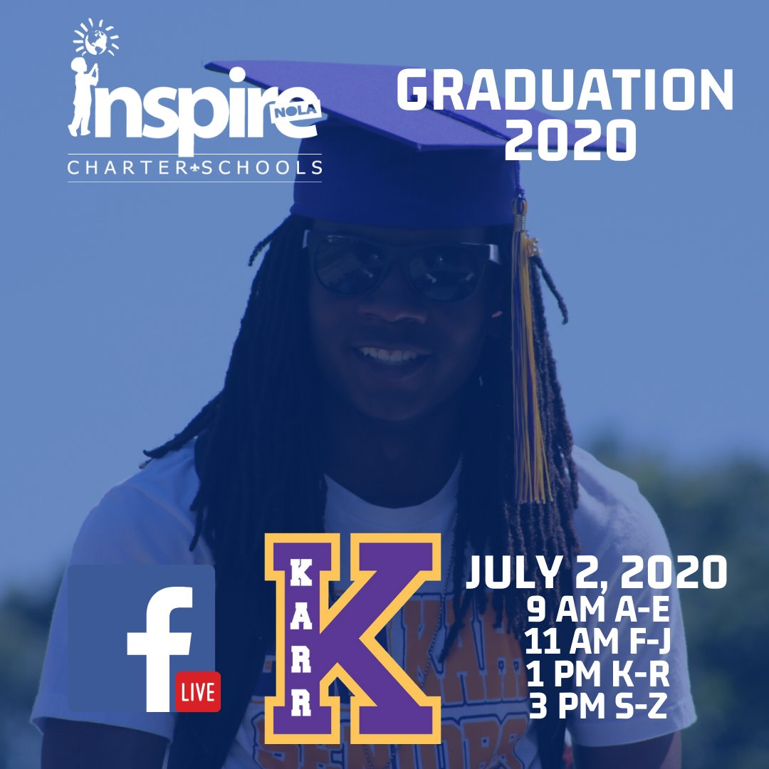 Join us for Edna Karr's Class of 2020 Graduation today! You can view the graduations here: https://t.co/ZzG0qfBY1V #InspireNOLA #Classof2020 https://t.co/go4lXiU3KQ