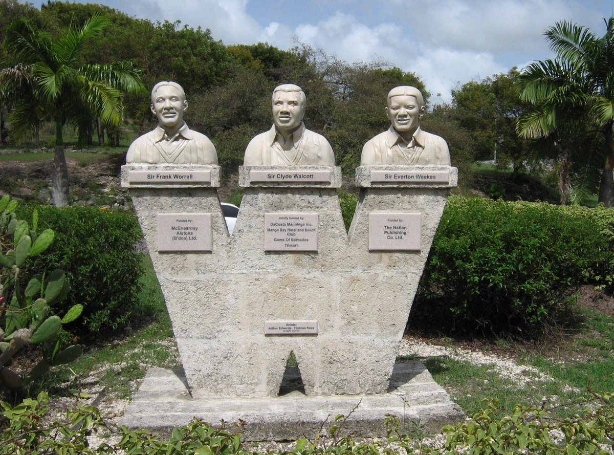 The Three Ws assembled at Cave Hill in Barbados. The Three Ws as young heroes playing for West Indies.  Salute, Manners and Respect to Sir Frank Worrell, Sir Clyde Walcott and Sir Everton Weekes  #Heroes #Legends #Cricket #Empire #Spartan https://t.co/oxM7MpOfBU