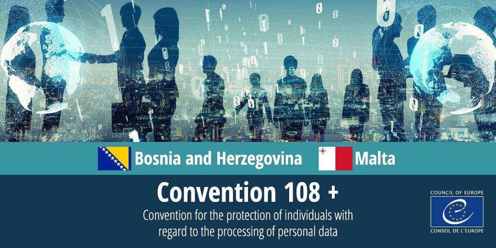 Congratulations to 🇧🇦Bosnia and Herzegovina and 🇲🇹Malta who signed today the Protocol amending Council of Europe's #Convention108 on #DataProtection. Read more about our work in this field: https://t.co/vXeicUBNh0  #PersonalData #Right2Privacy https://t.co/xXc2wcEmpe