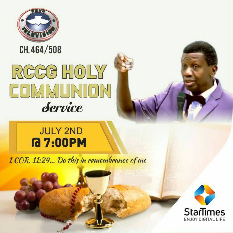 Do this in remembrance of me...  Join Pastor E.A Adeboye at the Holy Communion Service later today at 7pm on Dove TV 464/508  Let's somebody shout Hallelujah! https://t.co/IllZV4TS8z