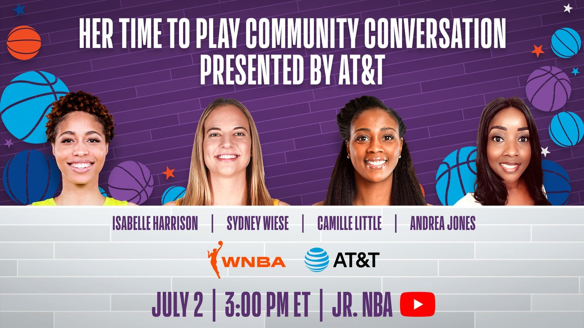 Join some of the brightest minds in the @WNBA at the #HerTimeToPlay Community Conversation pres. by @ATT‼️   Tune in TODAY at 3 pm/et on @JrNBA YouTube as they speak about social justice, using their platform to inspire young women around the 🌎, & more! https://t.co/7vKVbG6tXT https://t.co/Z0PUNzDC0E