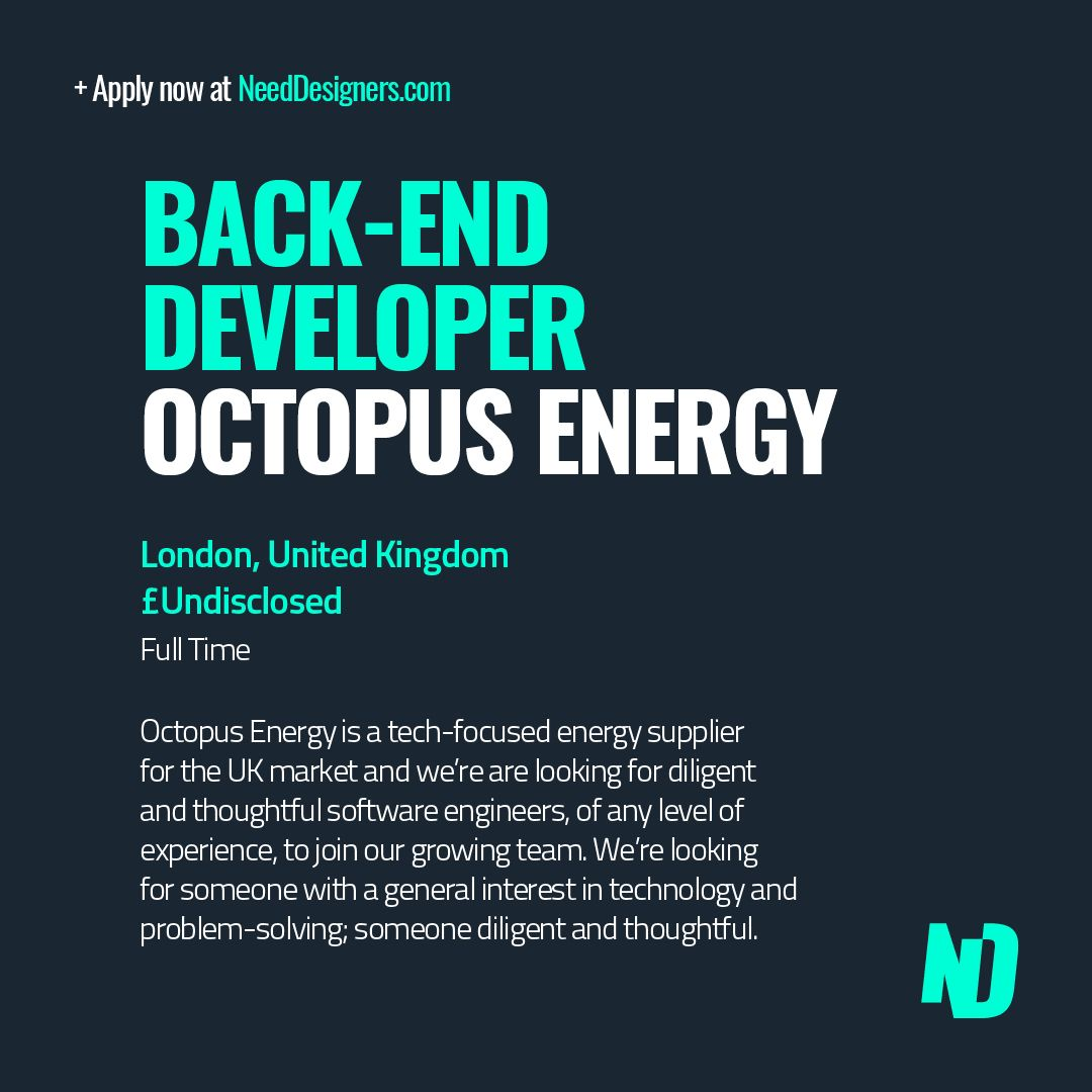 Back-End Dev needed to join Octopus Energy. Apply now at https://t.co/DdSDUUcFAL   #needdesigners #jobs #design #designjobs #creativejobs #graphicdesign #motiondesign #websitedesign #webdesign #digitaldesign #developer #programmer #dev #ui #ux #html #css #javascript #react #php https://t.co/w9SYJC6iAO