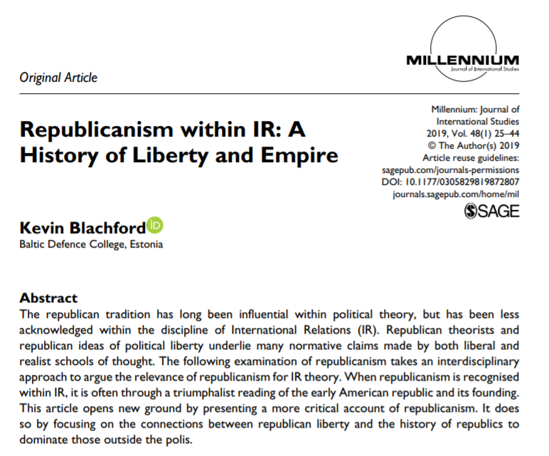 📢July Monthly Pick!  'Republicanism within IR: A History of Liberty and Empire', by Kevin Blachford from @BALTDEFCOL  Free to access and read at: https://t.co/9PYQ8zcRo8   #republicanism #empire #IR #theory #IRtheory https://t.co/jDJ572aaRG
