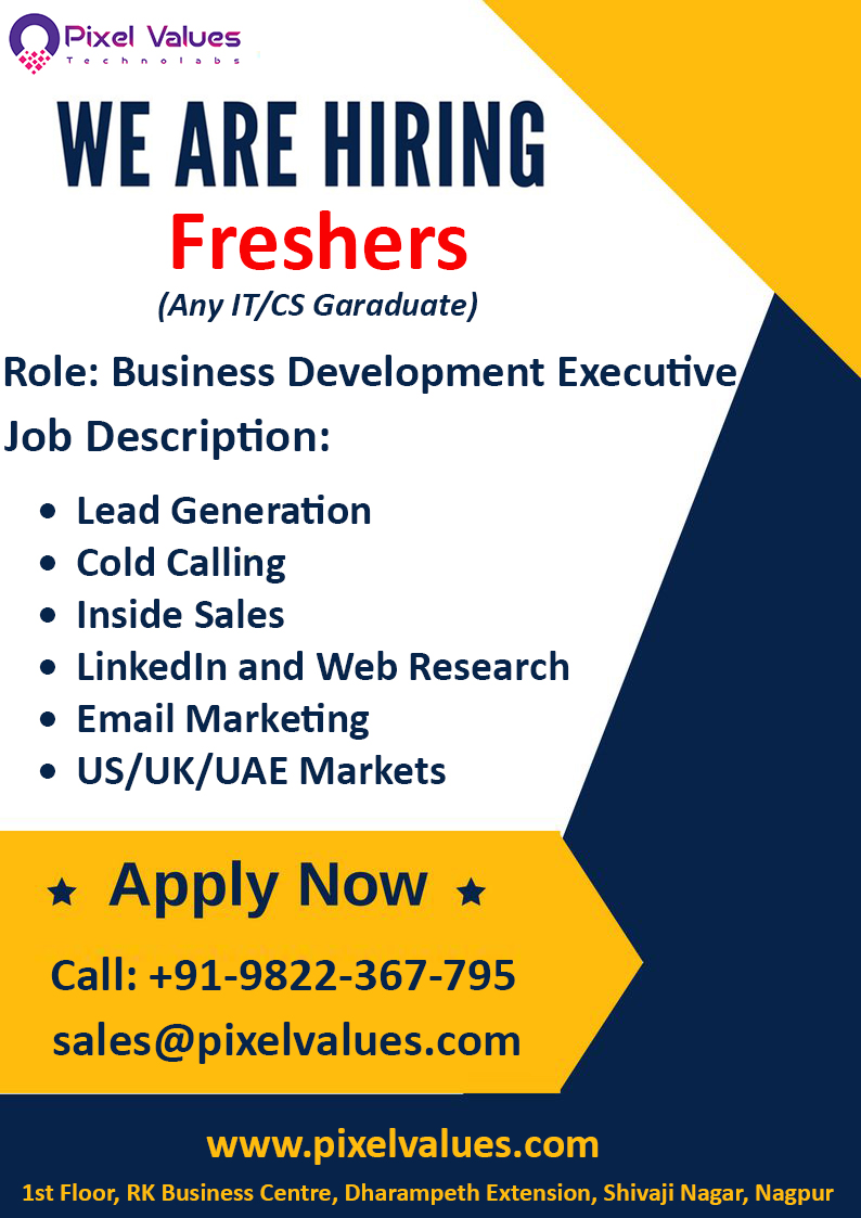 Pixel Values Technolabs Hiring Fresher For Business Development Executive Interested candidates can send their CV at sales@pixelvalues.com or call on +91- 9822367795 #Job #Success #BDE #BDEJob #JobsInNagpur #FresherJob #FresherBDE https://t.co/RaPPVzpEPD