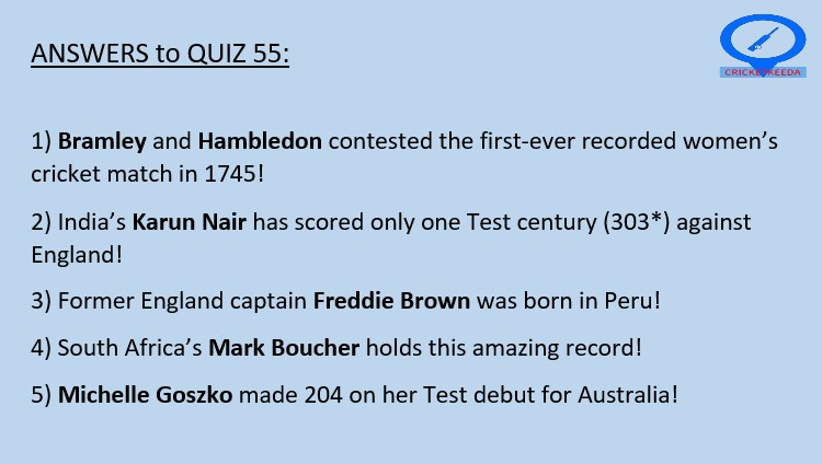 Answers to Quiz 55 are here 👇  Congrats to all those who got it right!  Quiz 56 at 8:00 PM IST! #Cricket https://t.co/dpfmSmHFFJ