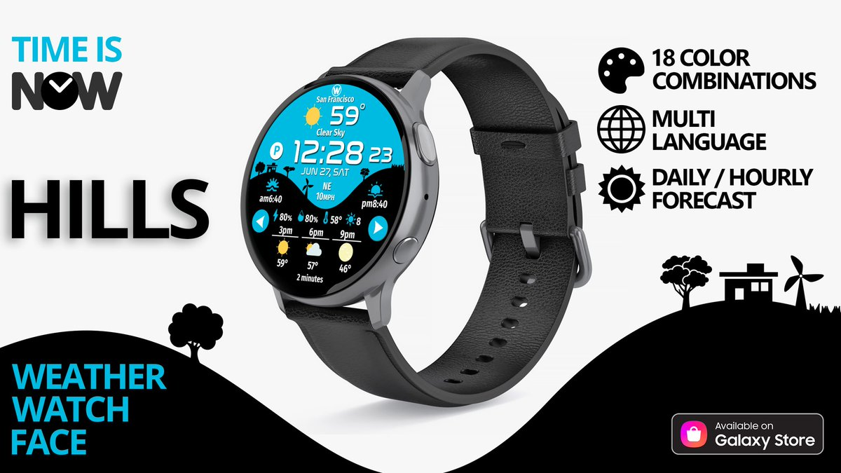 "*NEW* ""HILLS"" #watchface from NOW ⌚ https://t.co/6r6mYLBhH9  #Samsung #NOW #smartwatch #design #GraphicDesign #weather #forecast #time #BeASamsungDev https://t.co/r4nii1uP33"
