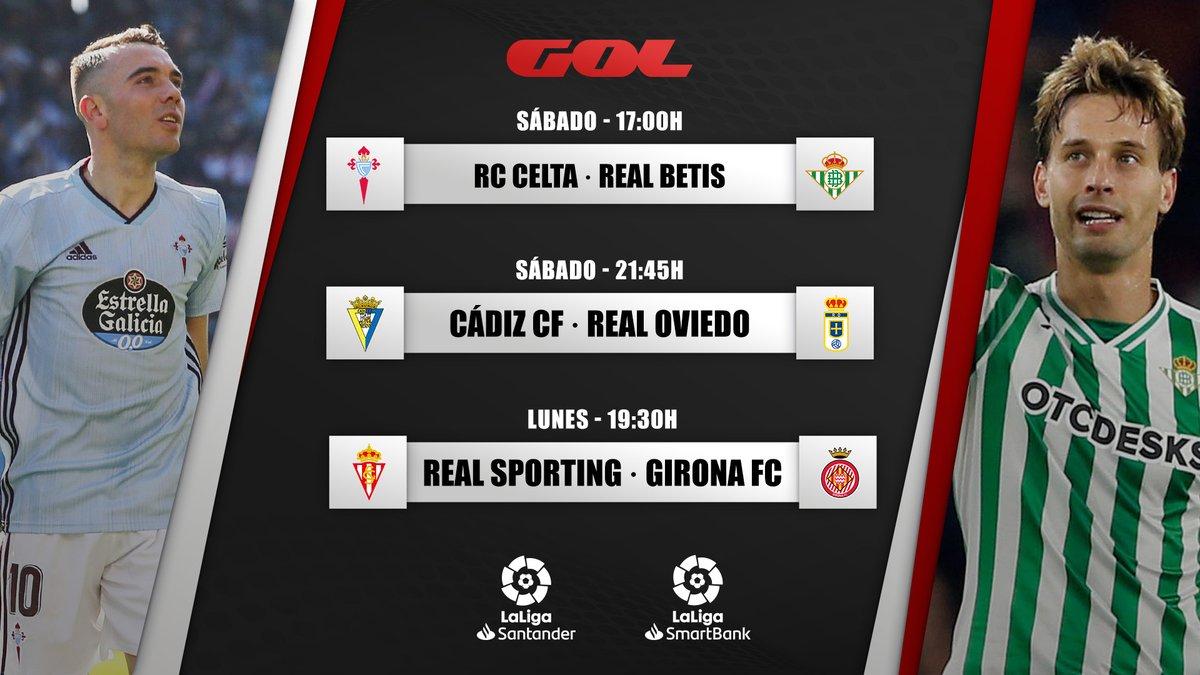 🤩 ¡Qué jornada tenemos por delante!   📆 Sábado  ⌚️ 17:00 ⚔️ @RCCelta 🆚 @RealBetis   📆 Sábado ⌚️ 21:45 ⚔️ @Cadiz_CF 🆚 @RealOviedo   📆 Lunes ⌚️ 19:30 ⚔️ @RealSporting 🆚 @GironaFC   🔛⚽ #VolverEsGanar https://t.co/JieNjHYAcL