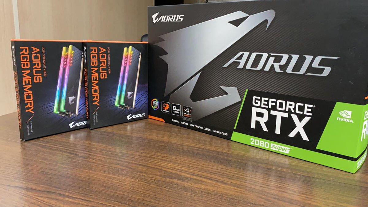 Bom dia...   Aorus RGB Memory 32GB + #Aorus #RTX 2080 Super https://t.co/J70qHyOpuN