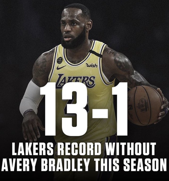 Campanha do Lakers sem Avery Bradley em quadra, 13 vitórias e uma derrota. E tem gente reclamando de Jr. Smith? https://t.co/VTmFzECBfR