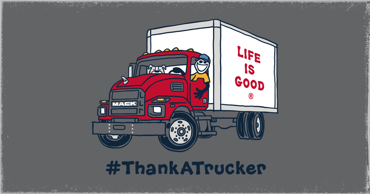 We've partnered with @MackTrucks to celebrate the #essentialworkers who've kept us rolling in challenging times. Tag a trucker with #ThankATrucker, and you both could win our exclusive Mack x Life is Good tee. Rules: https://t.co/AOF3vJK69Y https://t.co/BOx4dIVXcA