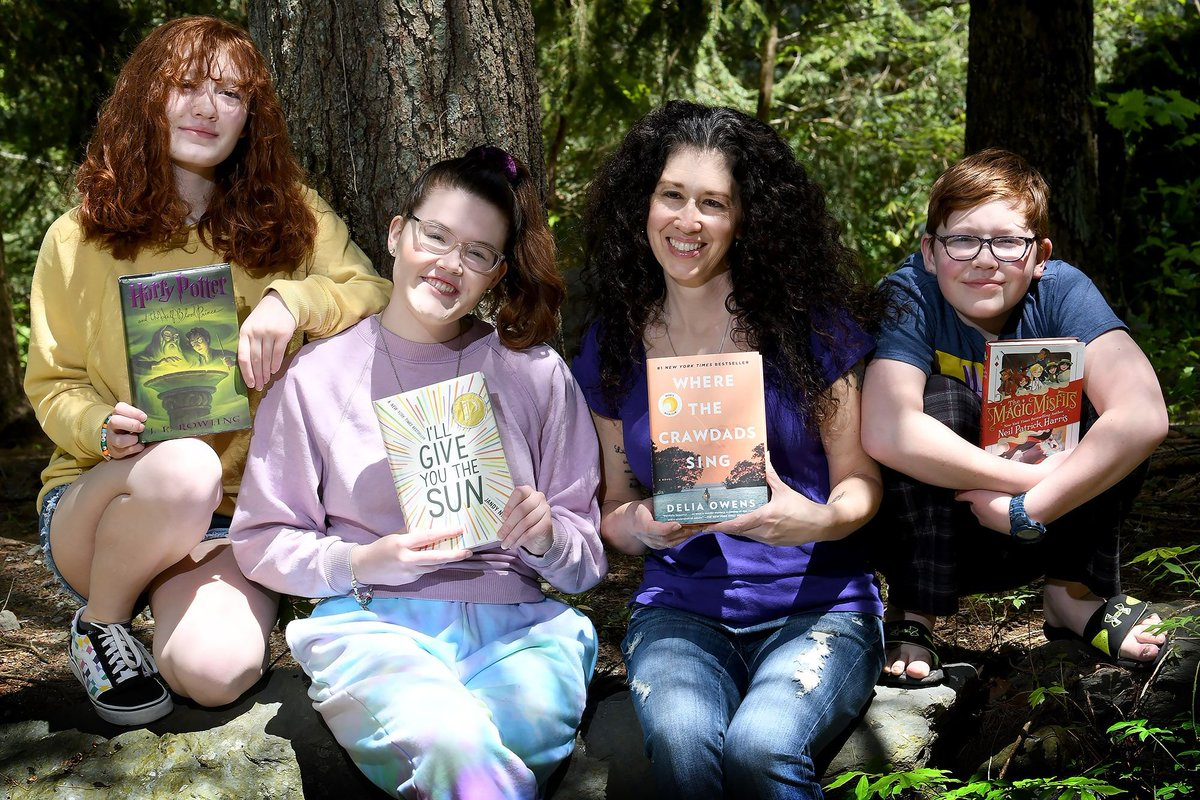 The Mackay Family from Norton have begun their summer reading! Lily is reading #HarryPotterYear6 by @jk_rowling. Catherine is reading #IllGiveYoutheSun by @jandynelson. Jill is reading #WheretheCrawdadsSing by #DeliaOwens & James is reading #TheMagicMisfits by @ActuallyNPH.