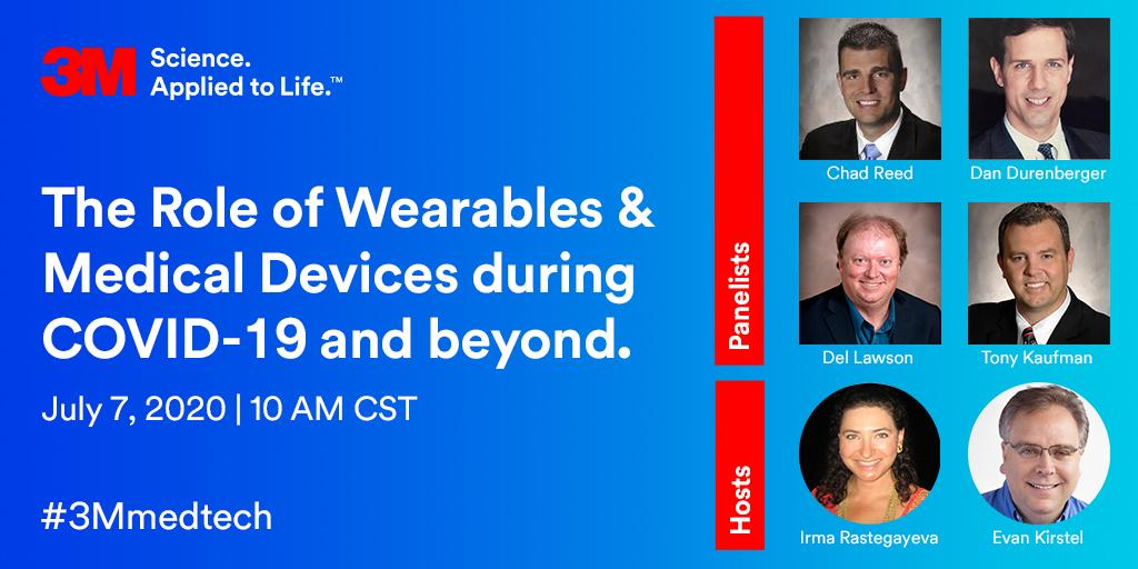 Join us for an engaging conversation around why #wearables and #microfluidics matter during #COVID19 with hosts @EvanKirstel and @IrmaRaste. July 7 @ 10AM CST. #3Mmedtech https://t.co/UkiWPlXitN