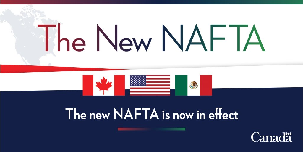 The new Canada-United States-Mexico Agreement is now in effect. The #NewNAFTA, modernized for the 21st century, makes it easier for businesses and workers to access customers and opportunities available in the U.S and Mexican markets. Learn more: https://t.co/rzC7KM2TKs #CUSMA https://t.co/Gq9hIbDjQM