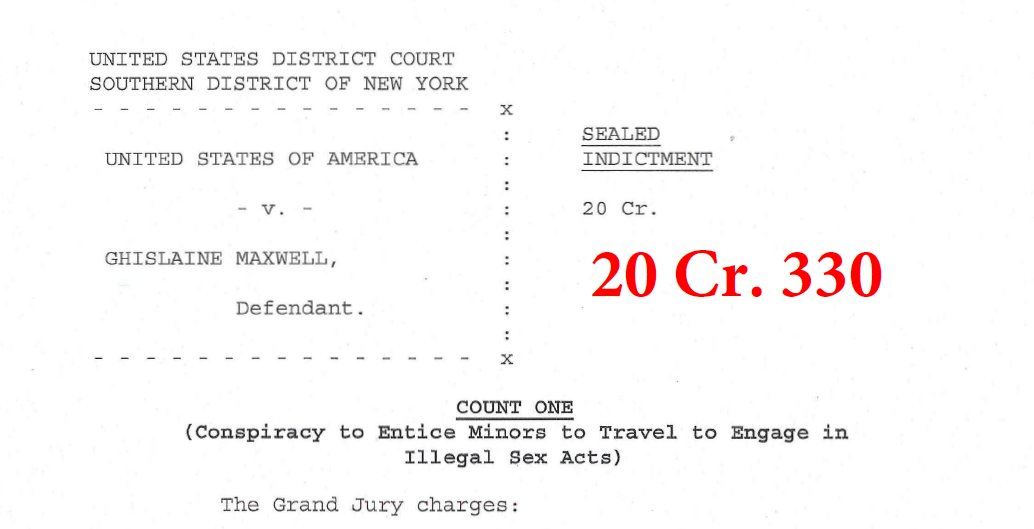 The Ghislaine Maxwell indictment - charges include:  1) Conspiracy to entice minors to engage in illegal sex acts  2) Conspiracy to transport minors to engage in illegal sex acts  3) Transportation of a minor to engage in illegal sex acts  4) Perjury https://t.co/ec7HPEJUz9