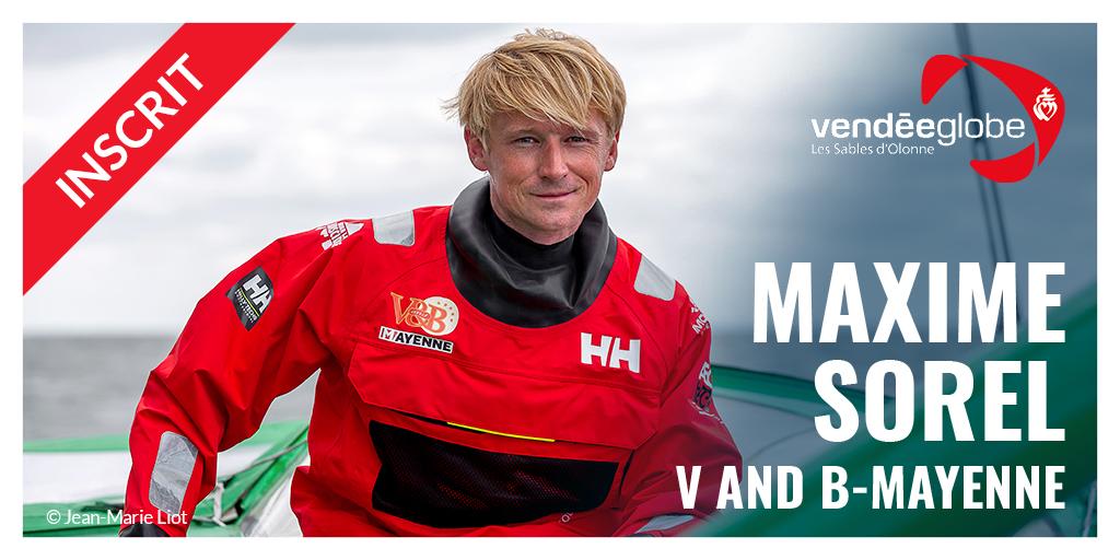 Félicitations à @MaximeSorel qui vient de valider son inscription pour le #VG2020 ! 👏 A bord de son IMOCA @vandb_mayenne, Maxime s'élancera sur son premier Vendée Globe. 🌊 https://t.co/tNOad8HFbh