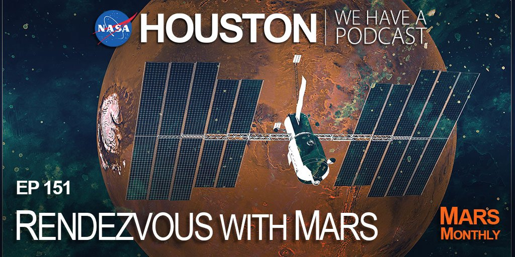 """It's episode 3 of our Mars Monthly series on first Fridays! NASA has sent many robotic missions to the Red Planet, but there are more challenges to address for humans… like different approaches to propulsion, cargo and more on """"Houston We Have a Podcast."""" https://t.co/WMuwT9Jjbx https://t.co/vGYSPkQXwZ"""