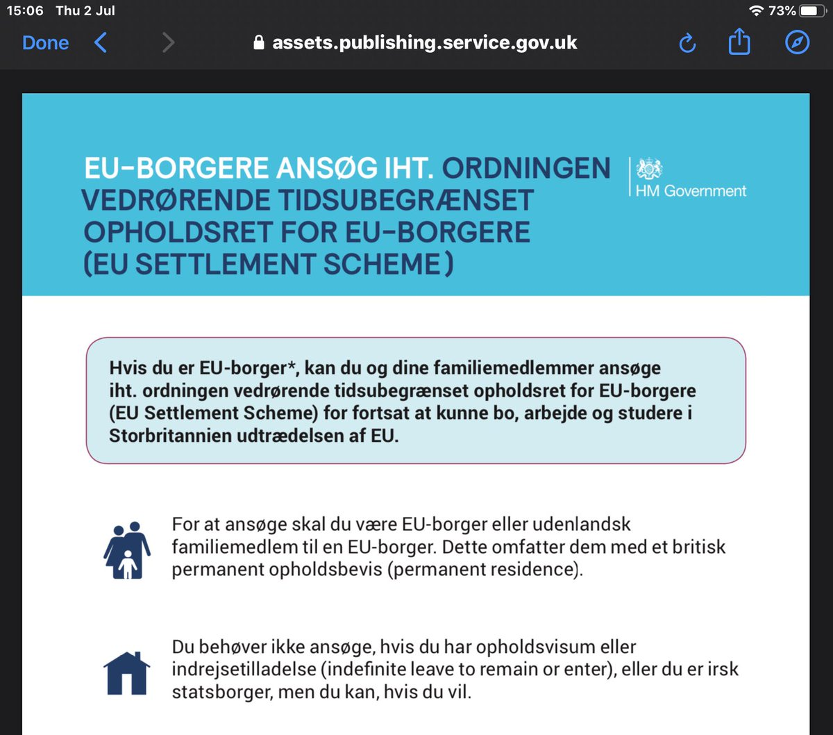 "@monlouhawk @ukhomeoffice @the3million Error is the same in the Danish version, ""you can apply"" rather than you MUST apply. If this messaging continues, people will be misled into thinking this scheme isn't relevant to them."