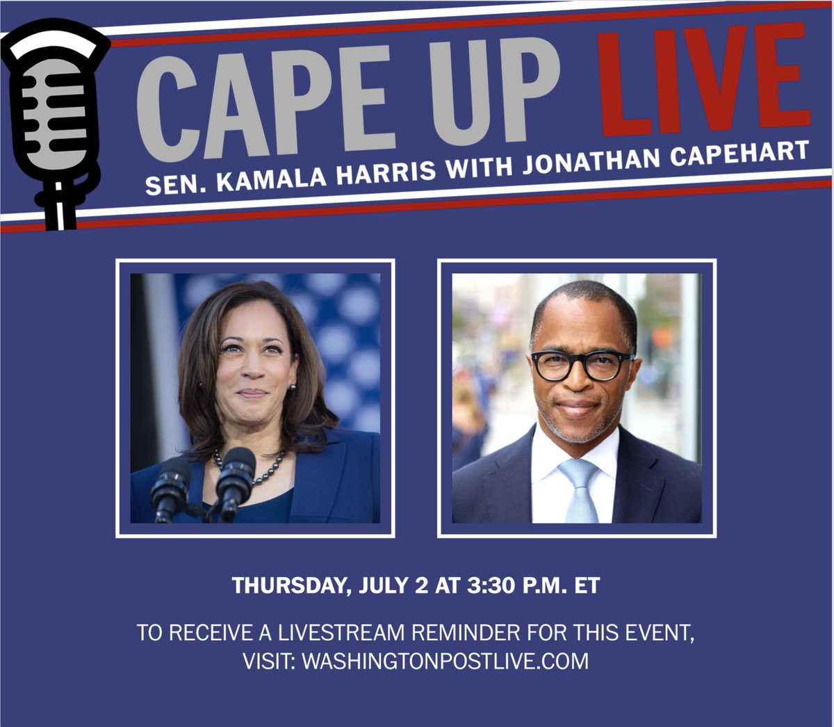 .@KamalaHarris joins @CapehartJ today at 3:30 PM, tune in! https://t.co/YdXNK6DhfX