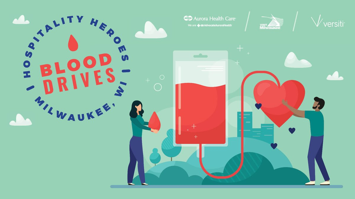 Appointments are still available TODAY for the Hospitality Heroes Blood Drive w/ @Aurora_Health, @visitmilwaukee and @BloodCenterWI!   Register:  https://t.co/QtMGcksxhR   #HealthCareHeroes #VisitMKE #SaveLivesDonateBlood #GoodThingsBrewing https://t.co/12tyv4qyuD