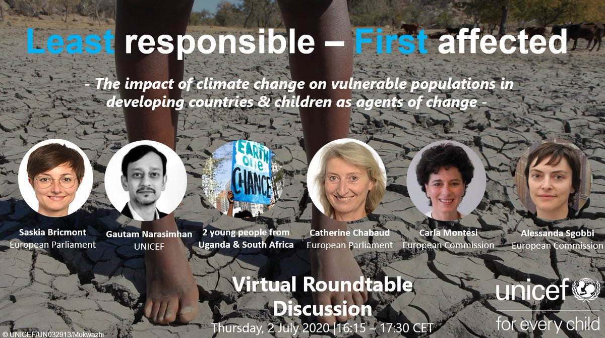 In a few minutes I will speak with @UNICEF_EU on how climate change is impacting vulnerable population in developing countries & specially #children LINK : unicef.zoom.us/j/96289506117 ID : 027014
